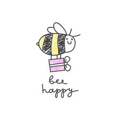 Bee happy card vector