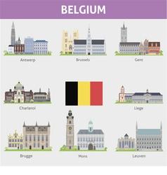 Begium symbols cities vector