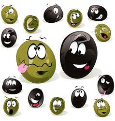 Black and green olive cartoon with facial vector