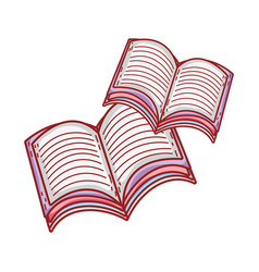 book day opened books isolated icon design vector image