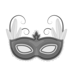 Brazilian carnival mask icon in monochrome style vector