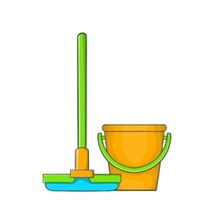 Bucket with mop icon cartoon style vector image