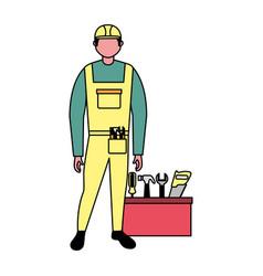 builder construction toolbox equipment vector image