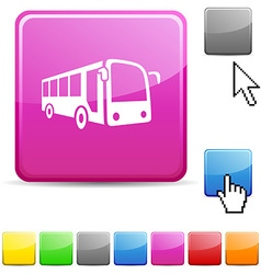Bus glossy button vector image