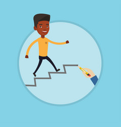 Businessman running upstairs vector