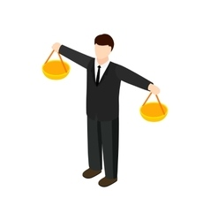 Businessman scale icon isometric 3d style vector image