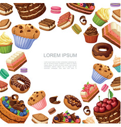 cartoon cakes and desserts background vector image