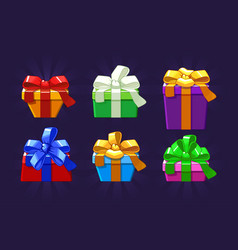 cartoon different colored and shape gift box vector image