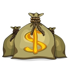 Cartoon full sacks with money vector image