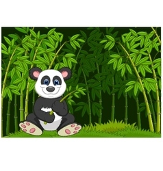 Cartoon panda in the jungle bamboo vector image