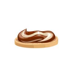 Chocolate spread butter cream on bread sandwich vector