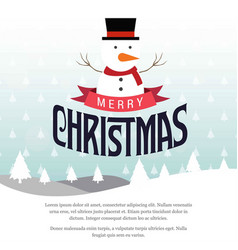 Christmas card with snow man and trees vector