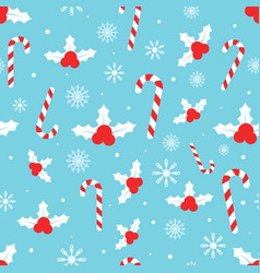 christmas pattern with holly berries candy canes vector image