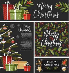 christmas set greeting banners cards and vector image