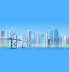 city bridge cartoon flat vector image