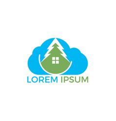cloud house logo design vector image