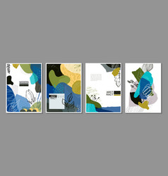 collection four trendy creative cards vector image