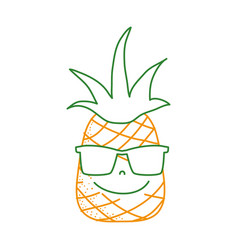 Color line happy pineapple fruit with sunglasses vector