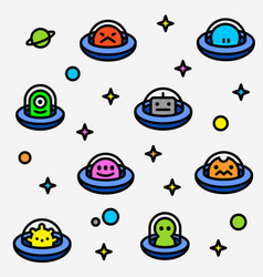 Colorful ufo aliens cartoon pattern vector
