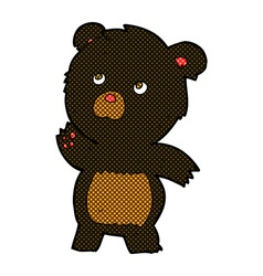 Comic cartoon curious black bear vector