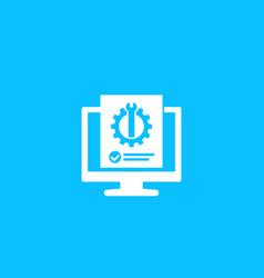 Computer diagnostics icon vector