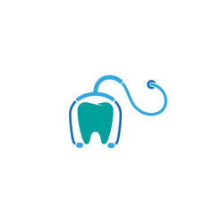 creative abstract stethoscope teeth logo design vector image