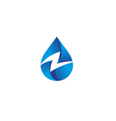 creative blue drop thunder logo vector image