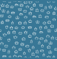 crowns seamless pattern hand drawn texture vector image