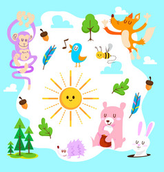 cute animal forest set vector image