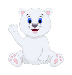 cute cartoon polar bear waving his hand vector image