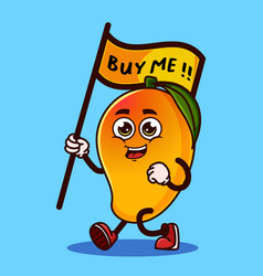 Cute mango fruit character carrying a flag vector
