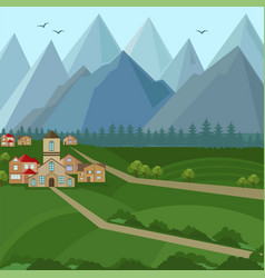 Downtown houses and mountains view vector