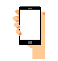 empty smartphone screen hand holds the smartphone vector image