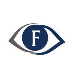 Eye care solutions letter f vector