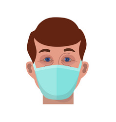 Face man in protective medical mask vector