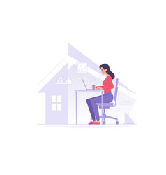 female freelancer working at home vector image