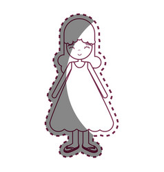figure happy beautiful girl with dress vector image