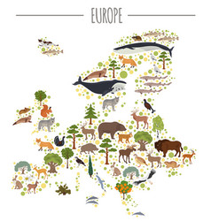 Flat european flora and fauna map constructor vector