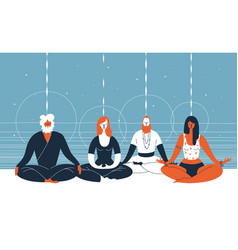Four people sit with closed eyes and crossed legs vector