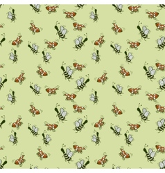 fun decorative background of bees and ladybugs vector image