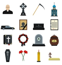 Funeral and burial flat icons vector