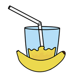 glass with juice of banana vector image