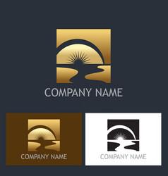 Gold sun beach river logo vector