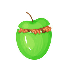 Green baked apple with caramel stuffing delicious vector
