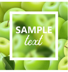 green ripe apples frame with text vector image