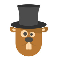 groundhog in hat icon flat style vector image