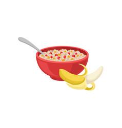 Half-peeled banana and bowl of oatmeal porridge vector