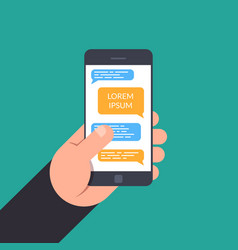 Hand holding to a smartphone concept of design vector