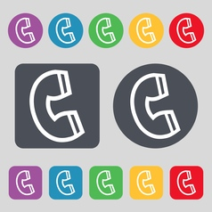 handset icon sign A set of 12 colored buttons Flat vector image