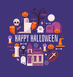 happy halloween card in flat design vector image